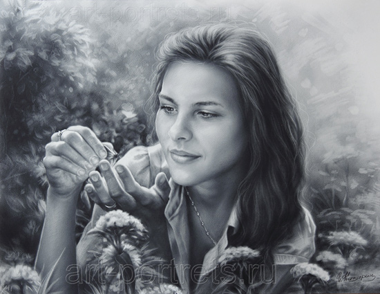 Drawing of a girl with butterfly and flowers