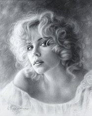 Portrait Drawing of an American actress and model Charlize Theron. Dry brush
