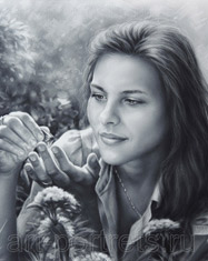 Black and white portrait drawing of a girl with butterfly and flowers