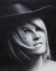 Black and white portrait commission of a girl in a hat