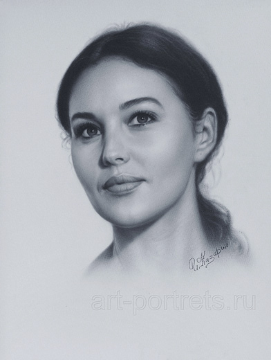 Portrait drawing video Monica Bellucci