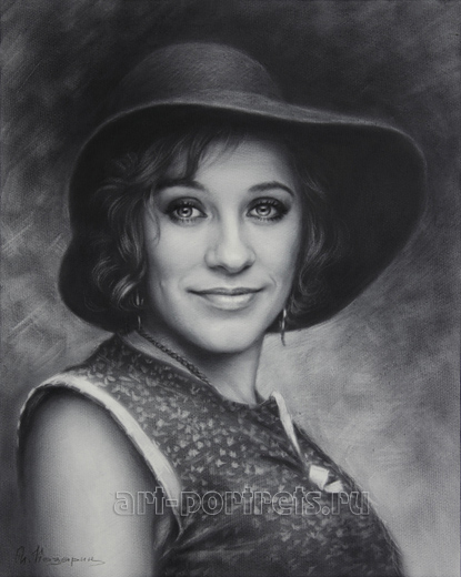 Pretty russian lady in a hat portrait by Dry Brush
