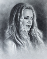 Eliza Taylor Drawing Portraits by Dry Brush. 2016