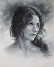 Evangeline Lilly Drawing by Dry Brush 2015