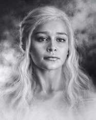 Portrait of the Khalessi, Actress Emilia Clarke by dry brush. 2015
