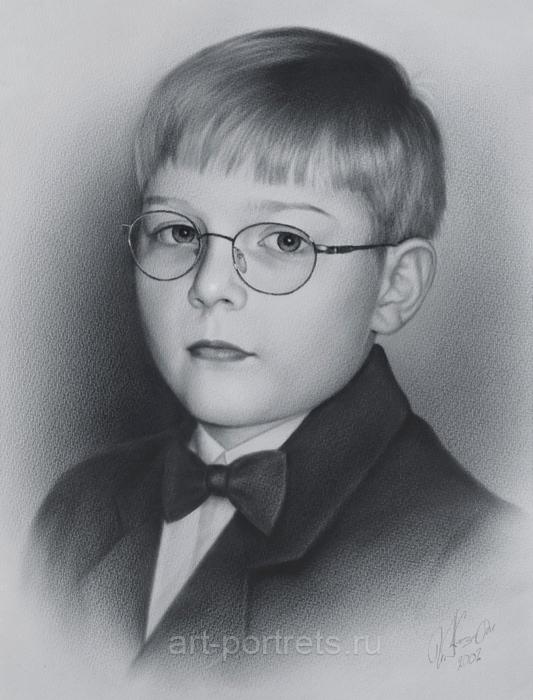 Рисунок портрет мальчика сережи
