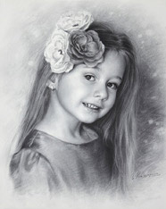 Black and white portrait of a little girl Anastasia with flowers by Dry Brush, 2015
