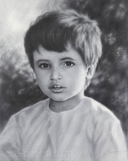 Portrait of a little Arab boy. Dry brush. 2016