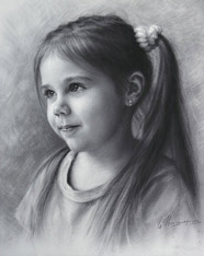 Semi Profile Portrait Drawing Little Girl by Dru Brush 2015