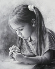 Drawing little girl with a flower by dry brush 2015