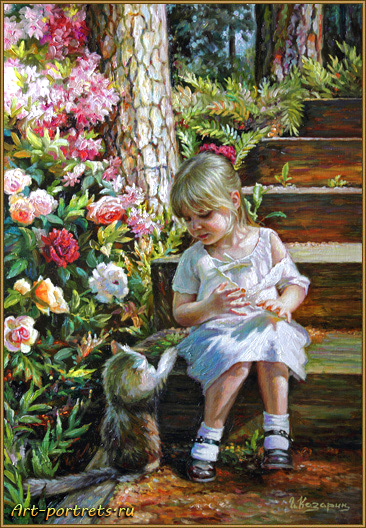 Painting a little girl and a cat