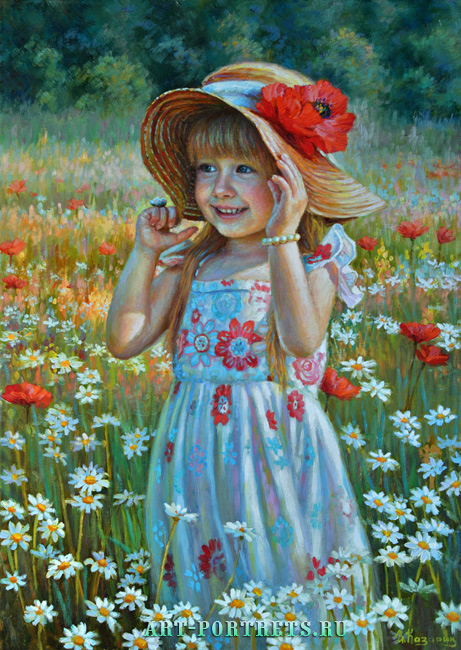 Painting a little girl in a hat with a poppy flower