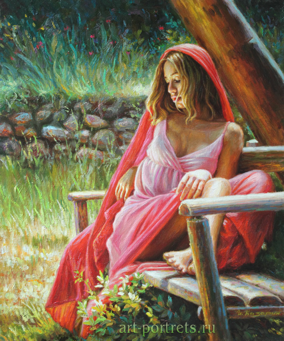Beautiful girl on a bench painting