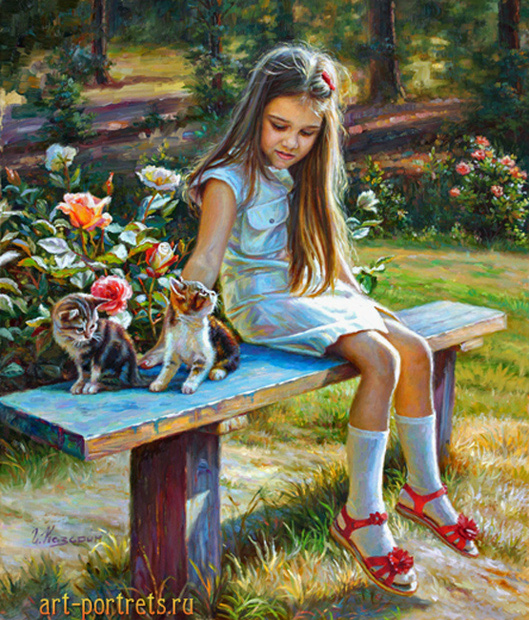 Painting little girl on a bench in the garden 2017