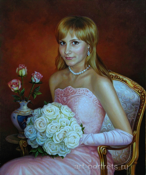 Oil painting girl. Painting of girl holding bouquet of flowers
