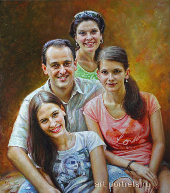 Group portrait of four people in oil on canvas