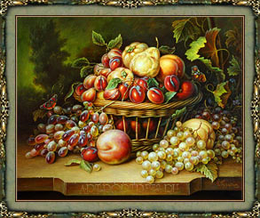 Still life paintings of fruit in baskets
