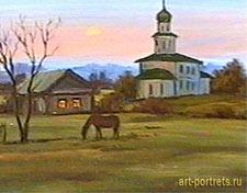 Пейзаж вечер на селе