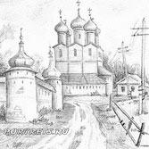 Рисунок церковь. Набросок карандаш