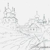 Сельская дорога. Рисование простым карандашом
