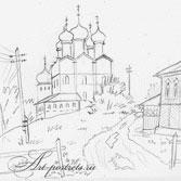 Сельская церковь. Рисунок нарисованный карандашом