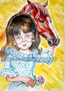 Russian children's caricature drawing. Girl and race horse