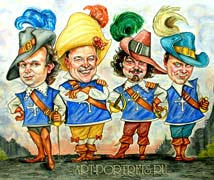 D artagnan musketeer and 3 musketeers cartoon