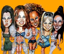 Star cartoon. Spice girl caricature